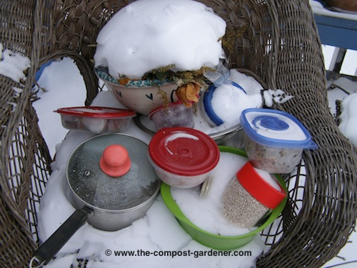 When It Warms Up I Get To Try To Pry The Semi Frozen Stuff Out Into The Bin  I Use As My Kitchen Compost Bin.