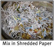 shredded paper compost Can anyone advise me on how to use shredded paper (old bills and junk mail, not newspaper) as a mulch without it blowing away i'm going to try wetting it thoroughly and see what happens, unless i hear some better methods.