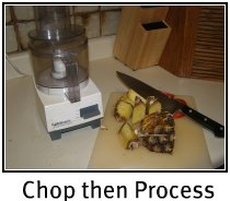 Chop with knife, then process with food processor